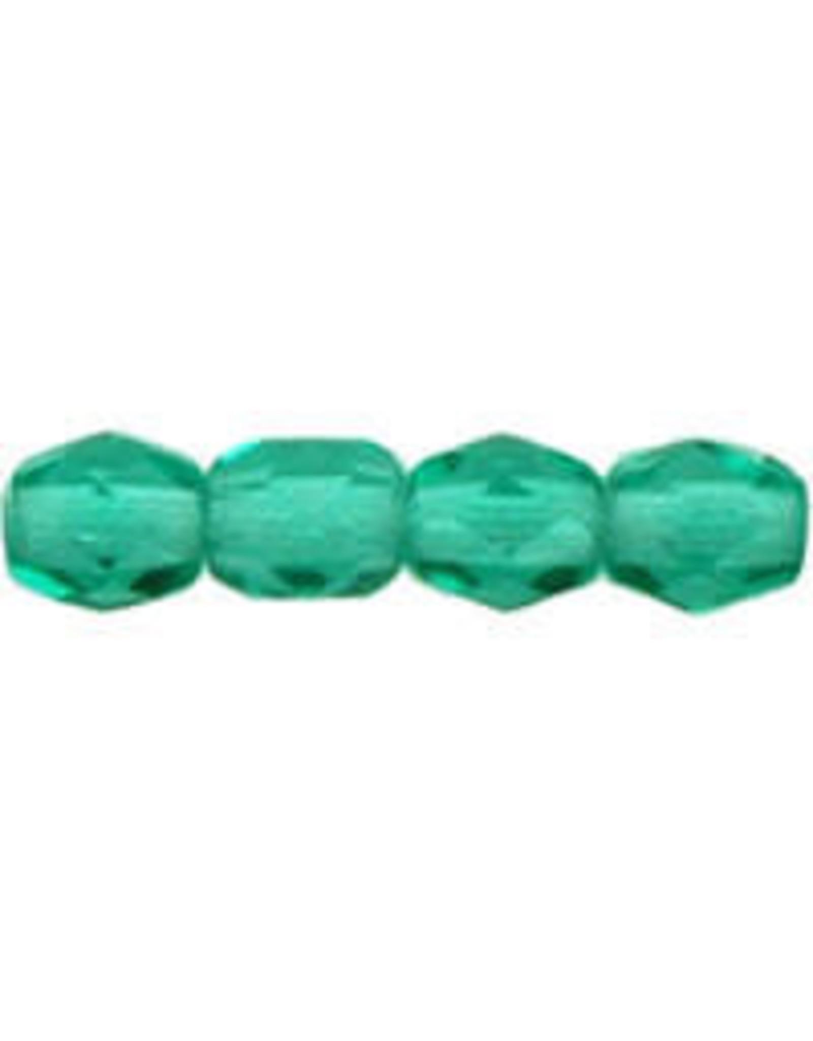 Czech 3mm Fire Polish Emerald Green  x50