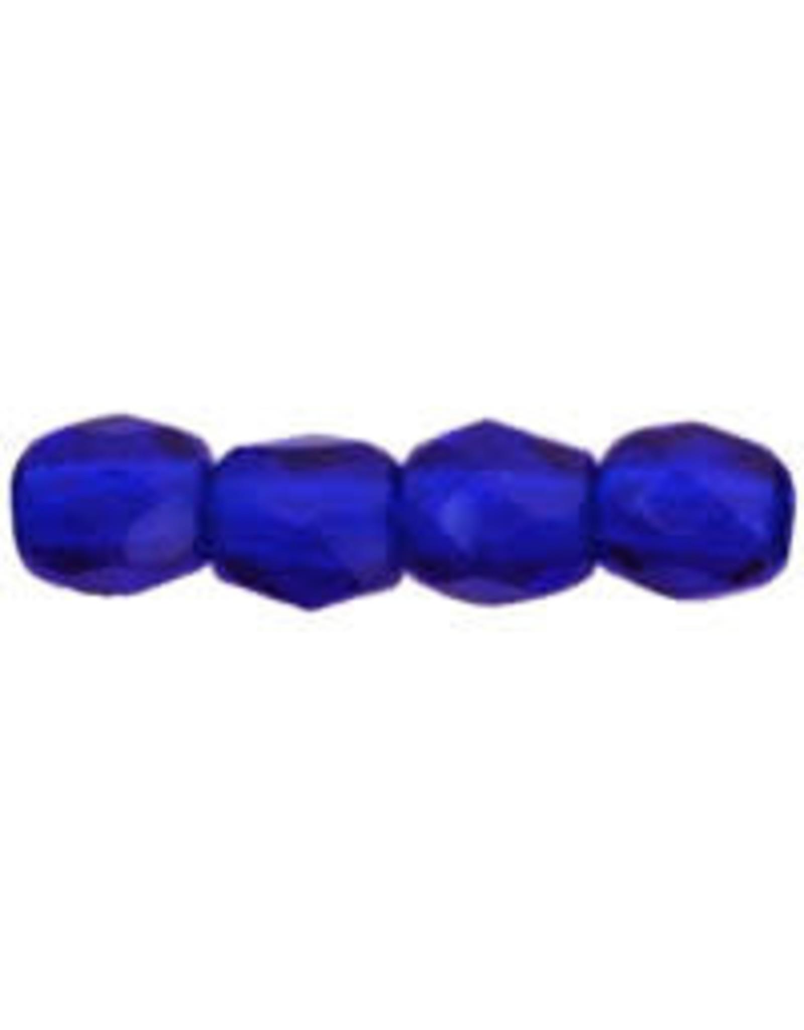 Czech 3mm Fire Polish Cobalt Blue  x50