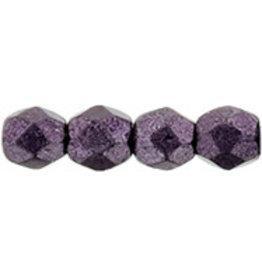 Czech 3mm Fire Polish Purple Matte Metallic x50