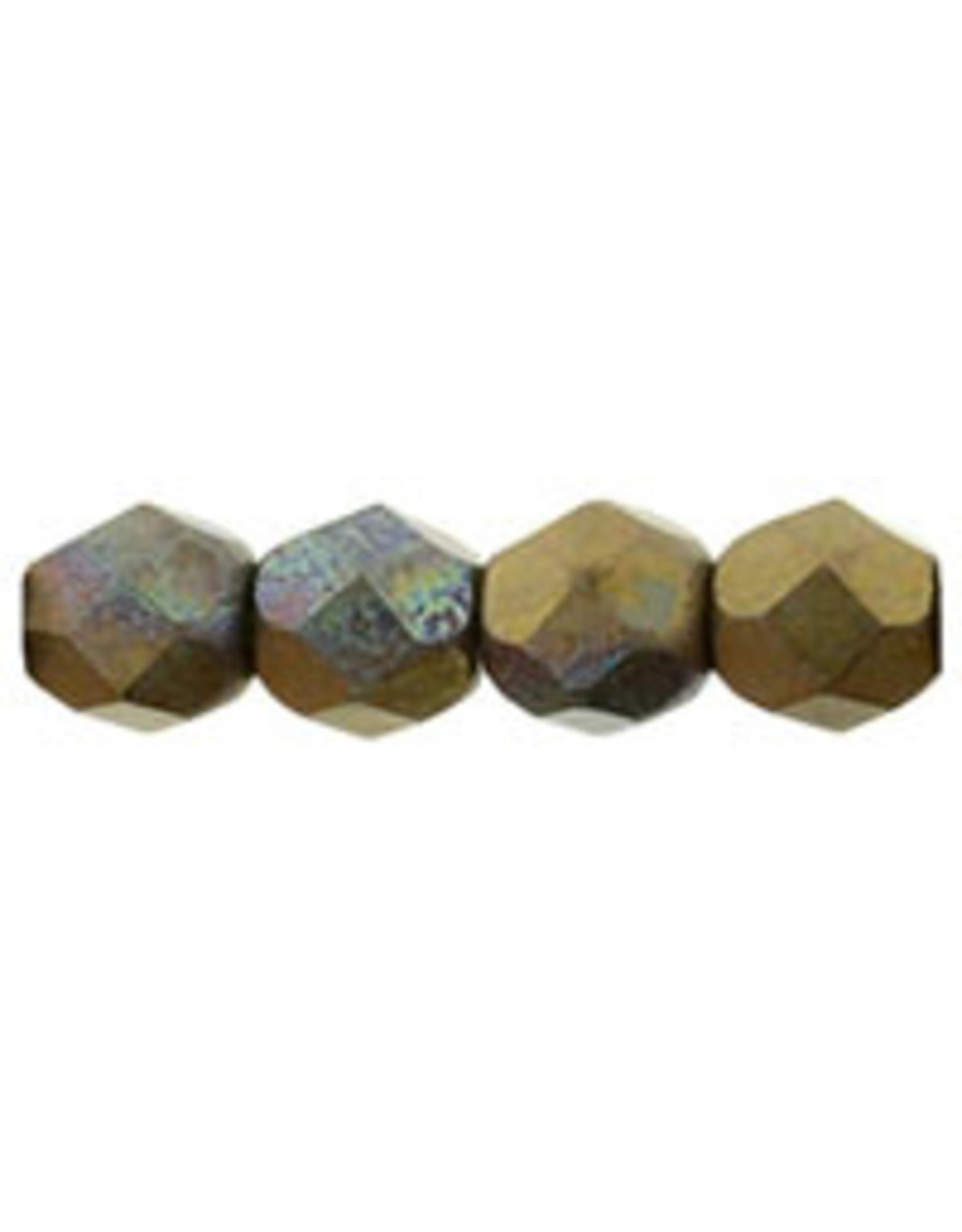 Czech 4mm Fire Polish  Bronze Clay Brown Matte Metallic  x50