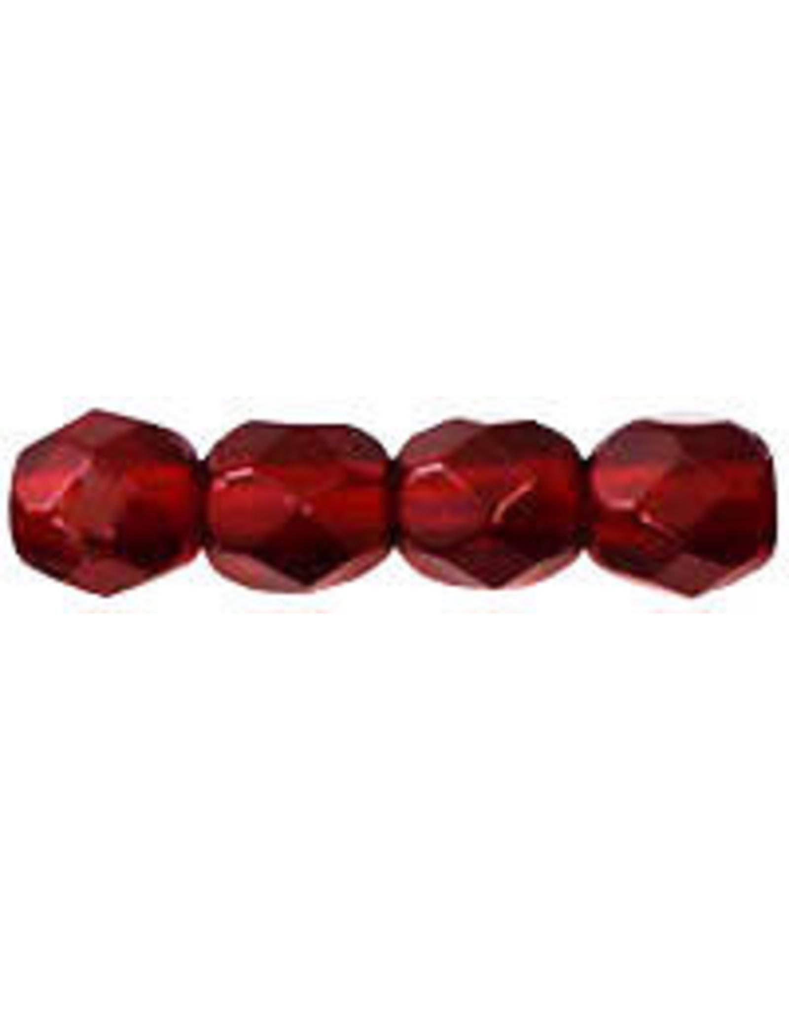 Czech 4mm Fire Polish Ruby Red x50