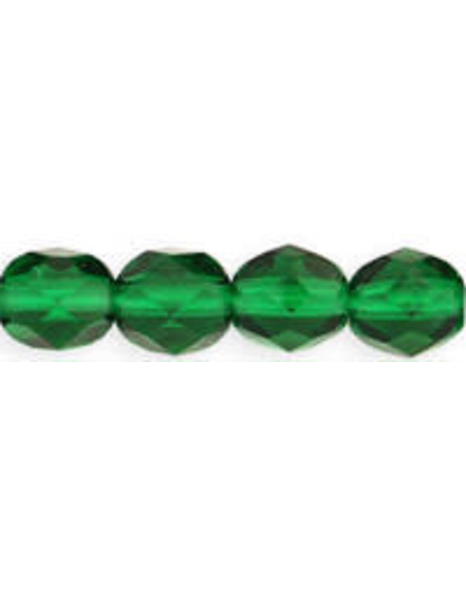 Czech 4mm Fire Polish Emerald Green x50