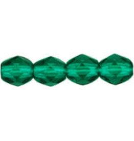 Czech 4mm Fire Polish Light Emerald Green x50