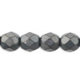 Czech 6mm Fire Polish  Hematite Grey Matte Metallic  x25