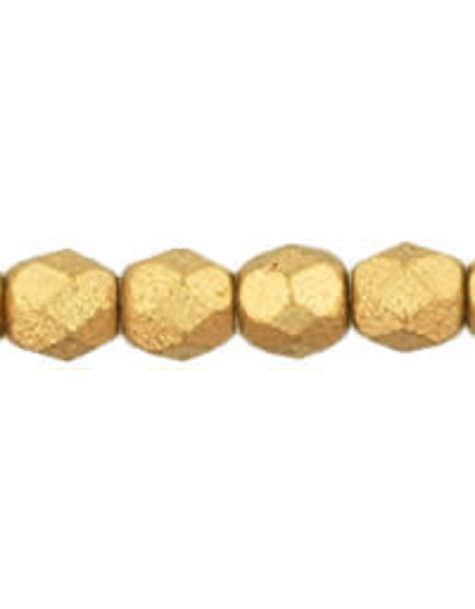 Czech 6mm Fire Polish  Flax Gold Matte Metallic  x25