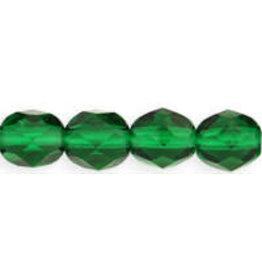 Czech 6mm Fire Polish  Emerald  Green  x25