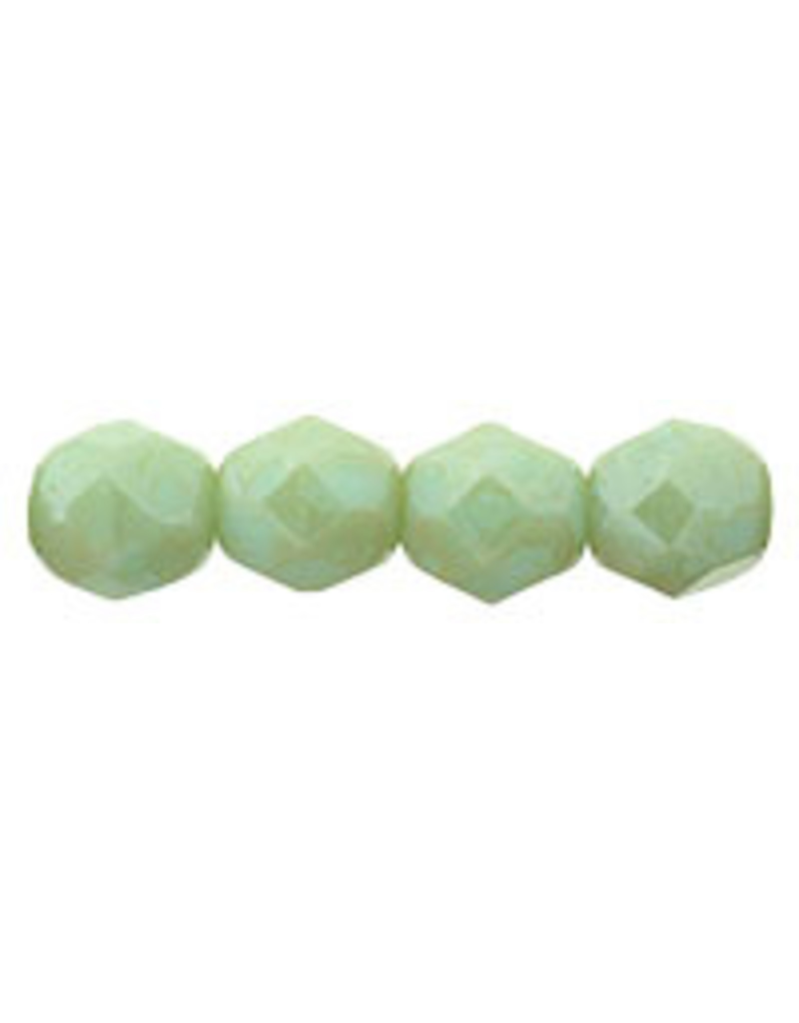 Czech 6mm Fire Polish Pale Turquoise  Green Stardust x25