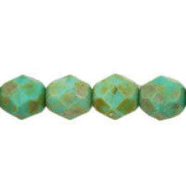 Czech 6mm Fire Polish Turquoise  Green Picasso x25