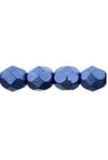 Czech 6mm Fire Polish Navy Blue Matte Metallic x25