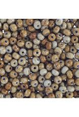 Czech *401526  6  Seed 10g  Opaque Light Blue Travertine