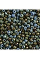 Czech *401527  6  Seed 10g  Opaque Medium Blue Travertine