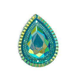 Drop Resin Cabochon 20x30mm Turquoise Blue AB  x5