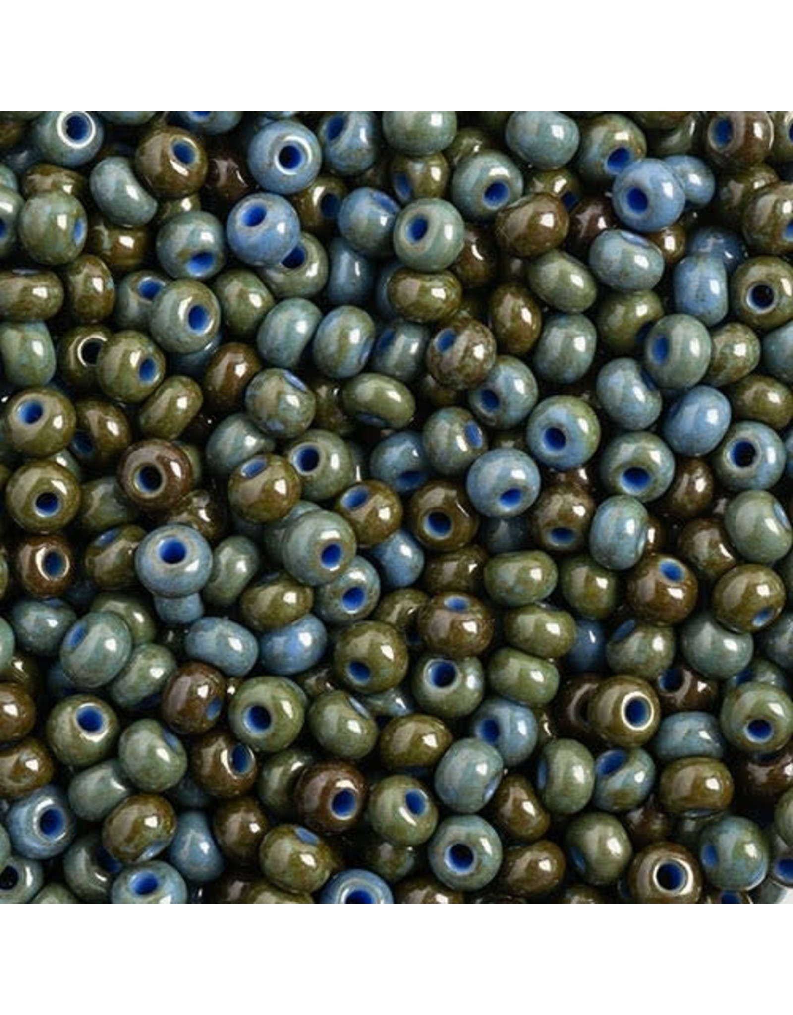 Czech *401527B  6  Seed 125g  Opaque Medium Blue Travertine