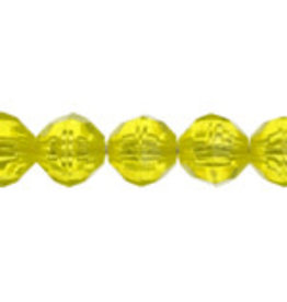 Faceted Round  8mm Transparent Yellow  x250