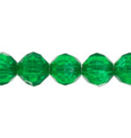 Faceted Round  8mm Transparent Green  x250