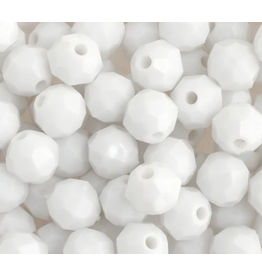 Faceted Round  8mm Opaque White  x250