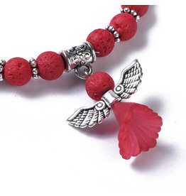 Bracelet with Red Lava and Angel Charm 6mm