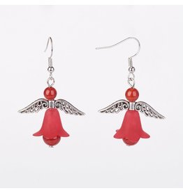 Hook Earring Angel Red Carnelian 50mm   x1 Pair