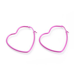 Hoop Earring Heart 52x46mm Pink Stainless Steel  x1 Pair