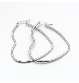 Hoop Earring Heart 52x46mm  Stainless Steel  x1 Pair