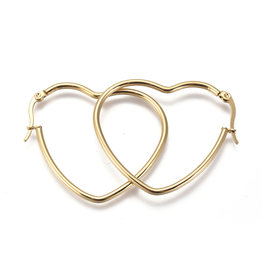Hoop Earring Heart 42x36mm  Gold Stainless Steel  x1 Pair