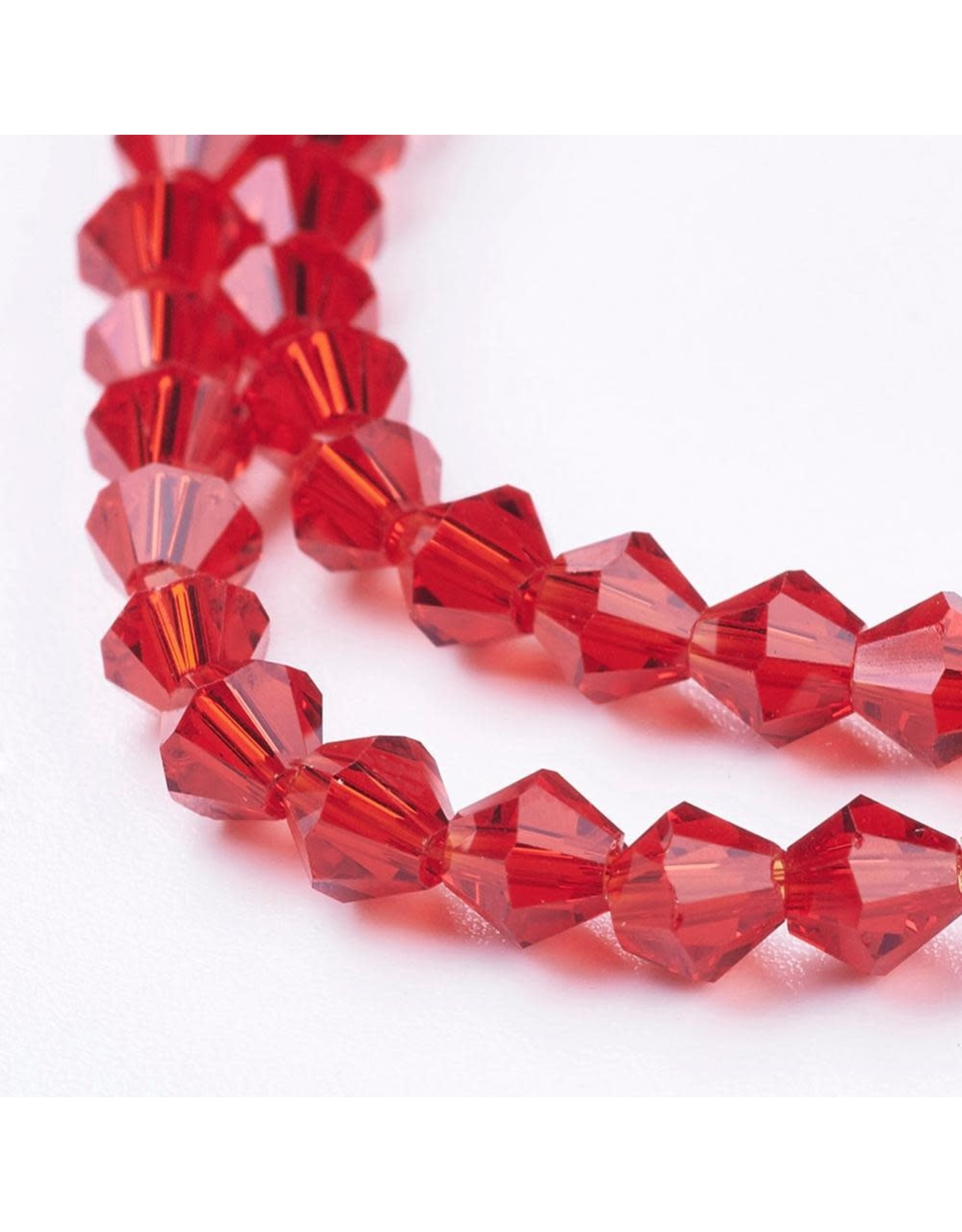 4mm Bicone  Red   x100