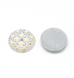 Round  Resin Cabochon 12x3mm Clear AB  x10