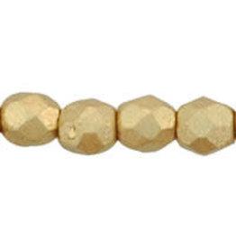 Czech 3mm Fire Polish Gold Flax Matte Metallic  x50