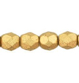 Czech 4mm Fire Polish Gold Flax Matte Metallic  x50
