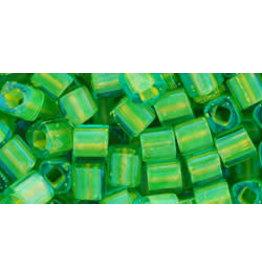 Toho 307 4mm  Cube 6g  Aqua Blue Yellow c/l