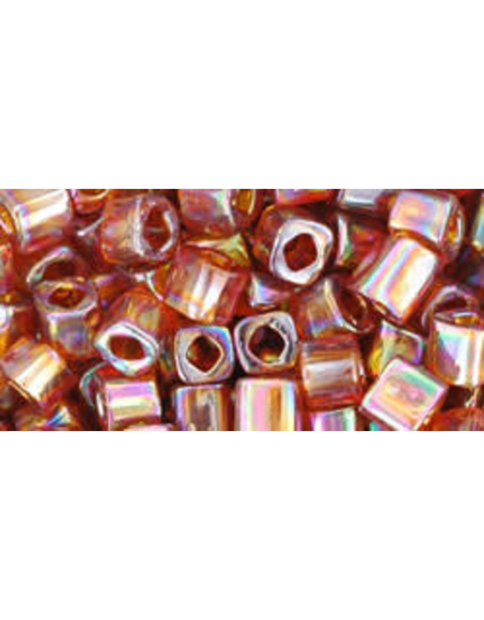 Toho 177  4mm  Cube  6g  Transparent Smoky Topaz Brown AB