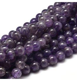 "Amethyst  8mm Purple  15"" Strand  approx x46  beads"