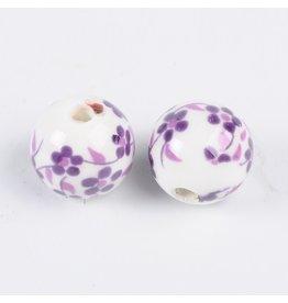 Round Flower Pattern 12mm White/Purple  x10