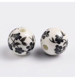 Round Flower Pattern 12mm White/Black  x10