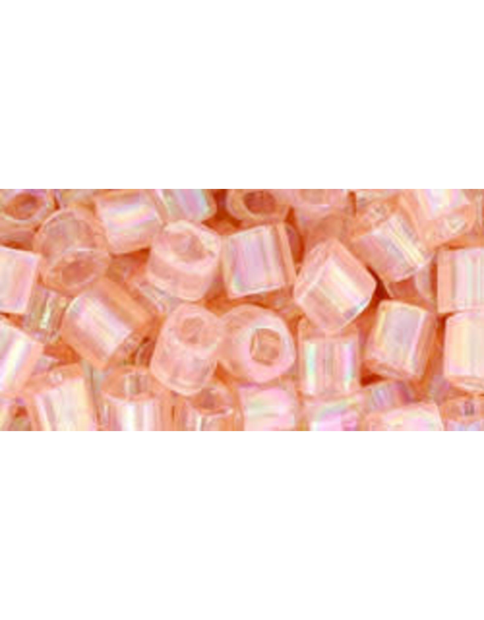 Toho 169  4mm  Cube  6g  Transparent Rosaline Pink AB