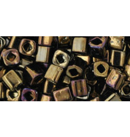 Toho 83  4mm  Cube  6g   Opaque Brown AB Metallic