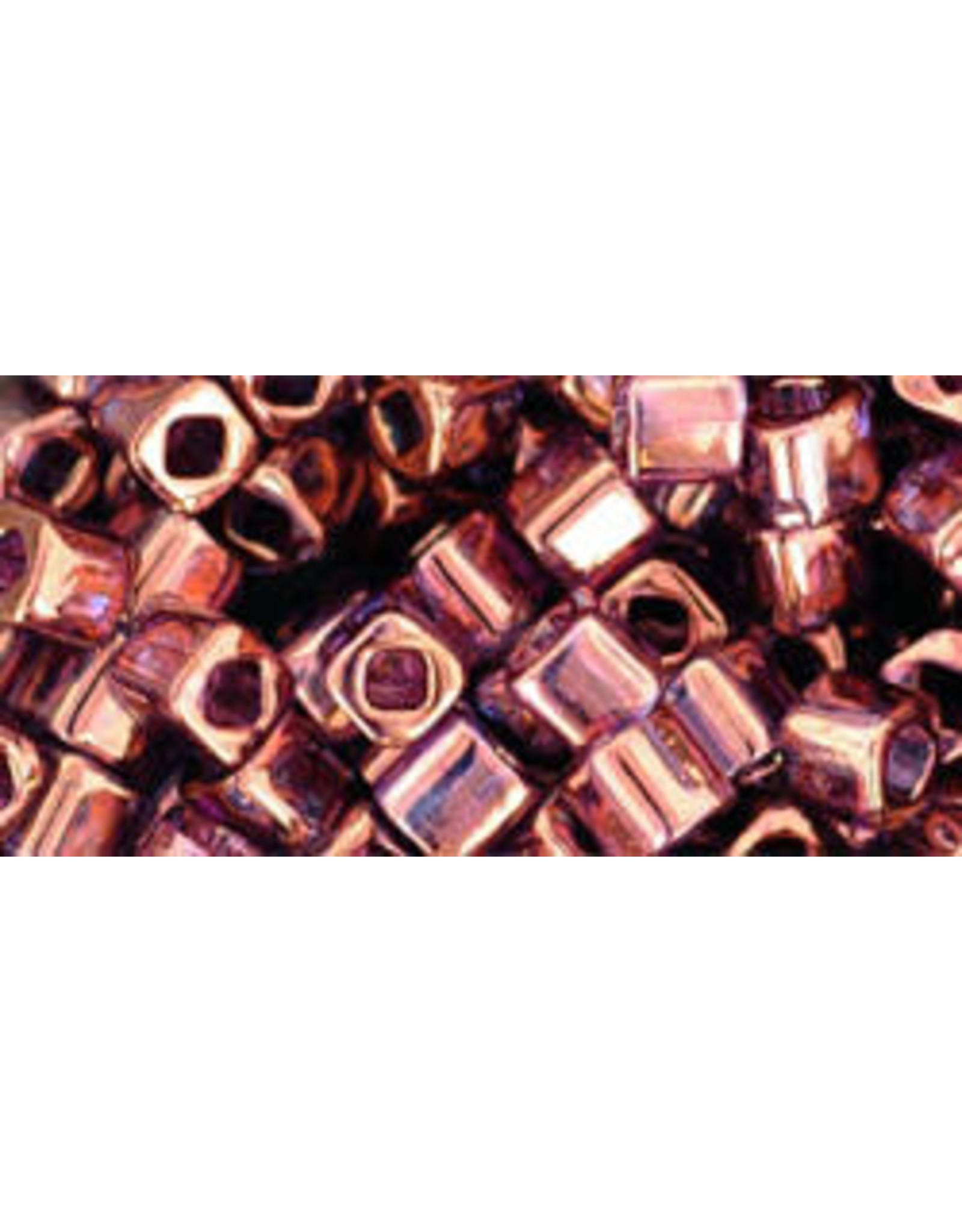Toho 201  4mm  Cube  6g   Transparent Amethyst Gold Lustre
