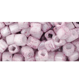 Toho 1200 4mm  Cube  6g  Opaque White Pink Lustre