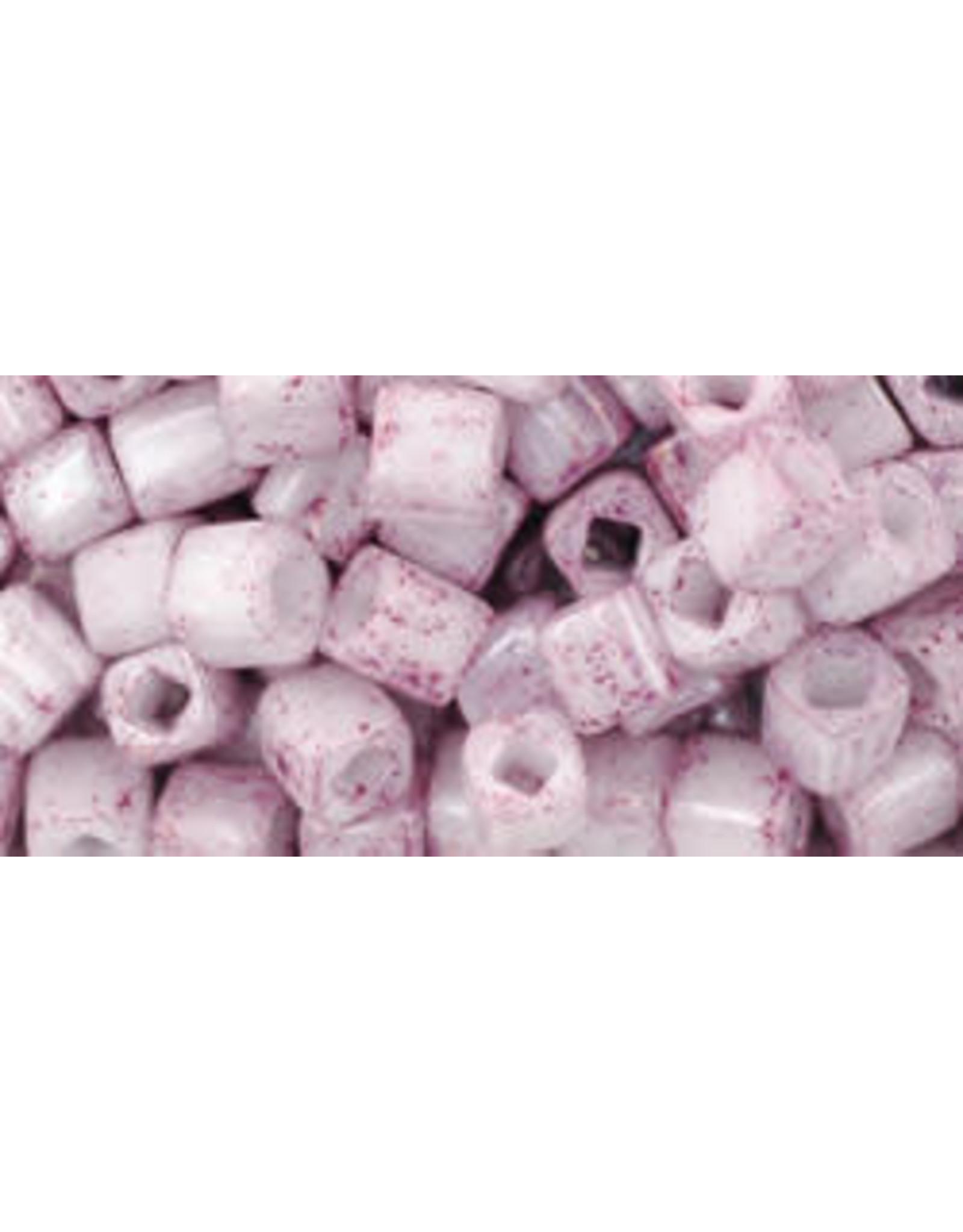Toho 1200B  4mm  Cube  40g  Opaque White Pink Lustre