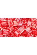 Toho 341  4mm  Cube  40g  Clear Red c/l