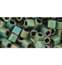 Toho 707B  4mm  Cube  40g  Peridot Green AB Matte