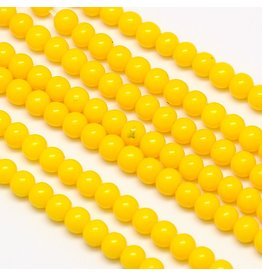 8mm Round Glass Pearl Yellow  approx  x50