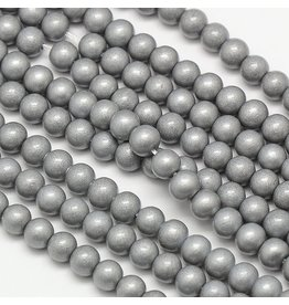 8mm Round Glass Pearl  Silver  approx  x50