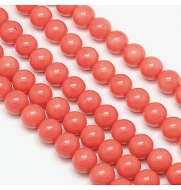 8mm Round Glass Pearl  Tomato Red  approx  x50