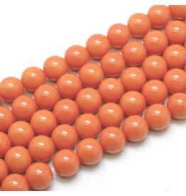 8mm Round Glass Pearl  Orange  approx  x50