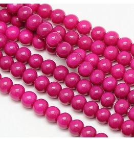 8mm Round Glass Pearl  Dark Pink  approx  x50