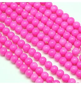 8mm Round Glass Pearl  Pink approx  x50