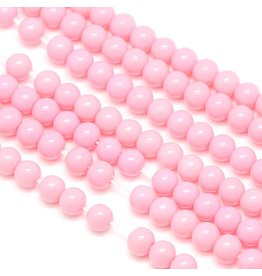 8mm Round Glass Pearl Light  Pink approx  x50