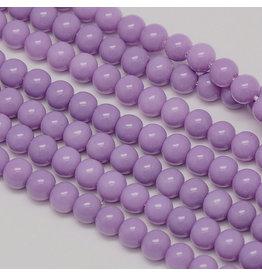 8mm Round Glass Pearl Light Purple approx  x50