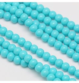 8mm Round Glass Pearl  Turquoise Blue approx  x50